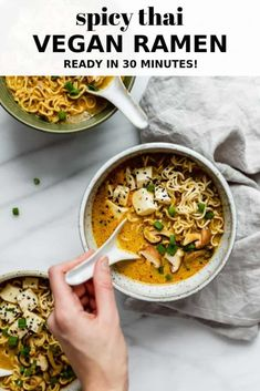 This spicy Thai vegan ramen soup recipe is easy to make, creamy and so tasty! It's ready in under 30 minutes! Easy Vegan Dinner, Vegan Dinner Recipes, Healthy Soup Recipes, Vegan Dinners, Vegetarian Recipes, Healthy Food, Thai Recipes, Sauce Recipes, Pasta Recipes