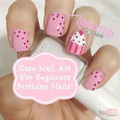Pink Princess Birthday Cupcake Nails