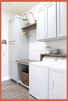 DIY Laundry Room Renovation – Frills & Drills – Haus Dekoration - Top Of The World Mudroom Laundry Room, Laundry Room Layouts, Laundry Room Remodel, Farmhouse Laundry Room, Laundry Room Organization, Laundry Room Design, Laundry Room With Sink, Laundry Decor, Small Laundry