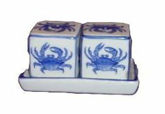 Blue & White Porcelain Cubes Crab Salt & Pepper Shakers by TUI. $25.99. With a hand-painted Crab motif.. Blue & White Porcelain Cubes Crab Salt & Pepper Shakers. The Cubes Shakers measure about 2 inches tall.. The tray measures a little over 4 ½ inches length.. The porcelain is entirely hand-painted in deep, rich blue.. Fine Porcelain Cubes shakers on tray that can be used separately. With a hand-painted Crab motif.   The Cubes Shakers measure about 2 inches tall.  The...