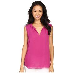 Vince Camuto Sleeveless Keyhole Blouse w/ Neck Pleats (Plum Tart)... ($69) ❤ liked on Polyvore featuring tops, blouses, draped blouse, pink sleeveless shirt, pink blouse, polyester shirt and pleated shirt