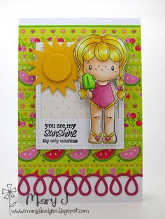 C.C. Designs Swiss Pixie Birgitta with Popsicle, Summer Sentiments and C.C. Cutters Curly-Q border Die...