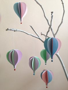 Hot air balloons to hang set of 6 pieces by StefysSeasons on Etsy