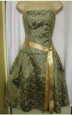 Jessica McClintock XS-S Strapless Knee-Length Aqua Floral Cocktail Dress