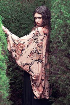 Image of Song Bird Kimono In Saffron Floral