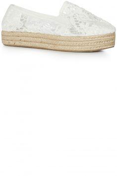 Primark White Lace Platform Espadrilles