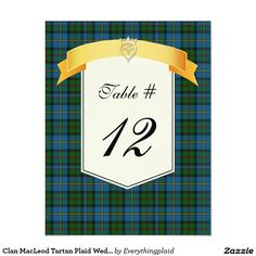 Clan MacLeod Tartan Plaid Wedding Table Number