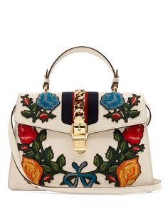 Sylvie large floral-appliqué leather shoulder bag | Gucci | MATCHESFASHION.COM US