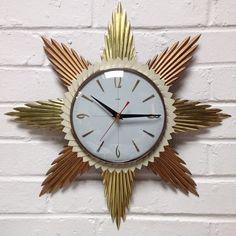 1960s Brass & Copper Starburst Wall Clock, battery movement