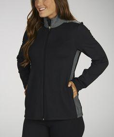 Look at this #zulilyfind! Black & Heather Gray Zip-Up Jacket #zulilyfinds