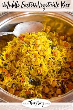 Eastern Roasted Vegetable Rice - Fluffy basmati rice with turmeric & Middle Eastern spices, roasted eggplant and carrot, chickpeas & pine nuts. Fabulous vegan entree or side dish. Middle Eastern Dishes, Middle Eastern Recipes, Middle Eastern Vegetarian Recipes, Basmati Rice Recipes, Spiced Rice, Gluten Free Sides Dishes, Egyptian Food, Cooking Recipes, Healthy Recipes