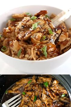 This slow cooker honey garlic chicken is the perfect family friendly weeknight recipe. Boneless skinless chicken breasts are slow cooked in a sweet and spicy Asian inspired sauce that takes just 10 mi Slow Cooked Chicken, Easy Crockpot Chicken, Best Chicken Recipes, How To Cook Chicken, Chicken Cooker, Pulled Chicken, Bbq Chicken, White Chicken, Crockpot Meat