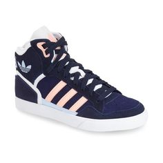 adidas 'Extaball' High Top Sneaker (815 MXN) ❤ liked on Polyvore featuring shoes, sneakers, adidas footwear, high top shoes, high top trainers, vintage shoes and adidas trainers