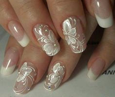 Wedding Nails Art Unghie Sposa Ideas For 2019 Nail Art Designs 2016, Flower Nail Designs, Nail Designs Spring, Cute Nail Designs, French Nail Designs, Fancy Nails, Cute Nails, Pretty Nails, Shiney Nails