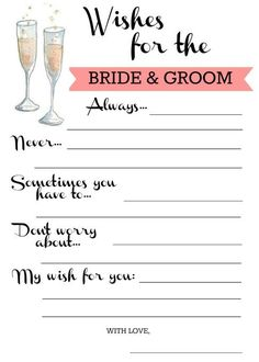 Monograms and Mimosas Shower - wishes for the bride & groom - free printable