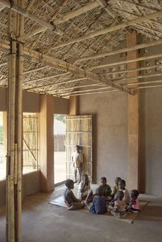 In the north of Mozambique eleven preschools and community centres were realised by local craftsmen using an innovative earth and bamboo construction system. The seven schools have a maximum span of 6 m and four more simple dwellings were completed in ...