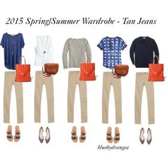 Spring/Summer Wardrobe - Tan Jeans by bluehydrangea on Polyvore featuring J.Crew, Madewell, Zara and Sole Society
