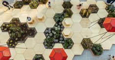 This multi-sensory urban garden in Favara, Italy, features a landscaped terrace with plants, seating and paths with a hexagon pattern.