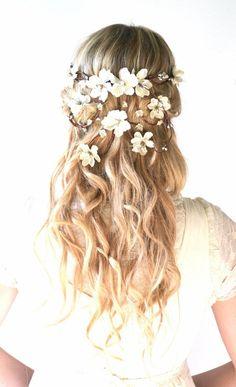 Bridal crown, flower head wreath, wedding hair accessory, woodland hair piece, Hair Wreath, Circlet, Ivory, Pearl, Silver, headpiece - HERA #GoConfidently www.jolenbeauty.com