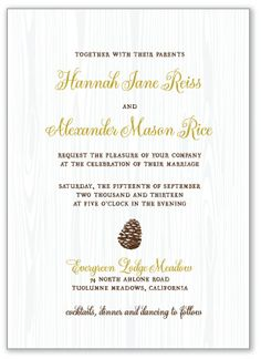 Tuolumne Letterpress Wedding Invitation