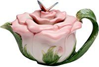 Cosmos Gifts, 20853 Butterfly on Rose Teapot, Ceramic, 5-1/2 Inches High
