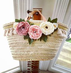 Farmhouse peony straw basket, Rustic nursery & home decor, Shabby chic cabbage rose basket, Pottery barn style pink flower basket Rose Basket, Flower Basket, Basket Bag, Pottery Barn Style, Straw Handbags, Rustic Wedding Flowers, Boho Bags, Vintage Bags, Pink Peonies