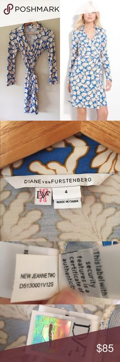 """Diane Von Furstenberg Jeanne Wrap Dress This gorgeous DVF dress is in great condition. Tiny tag hole is pictured, top of left shoulder and hard to notice. Blue and gold coral print, 100% silk. 37"""" long from collar to bottom hem.   Ships from Hawaii 🌺 No trades 😇 Reasonable offers welcome 👍🏻 Diane von Furstenberg Dresses"""