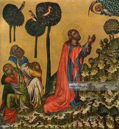 'Jesus in the Olive Grove', c1350 (1955). Tempera on wood. Found in the collection of the National Gallery, Prague. A print from Gothic Painting in Bohemia 1350-1450, by Antonin Matejcek and Jaroslav Pesina, Artia Prague, 1955.