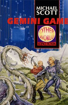 Gemini Game.  This was the first time I'd written about twins.  Written in 1992 and published a year later, it is set in a matrix world (many years before the Matrix movies!)  The cover by Peter Haigh mixes art with a photographic background.