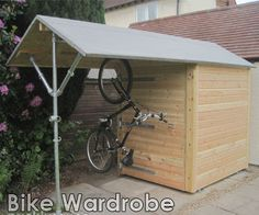 Want to know about cedar shed plans? Then here is definitely the right place! Craftsman Sheds, Dirt Bike Room, Dirt Bikes, Outdoor Bike Storage, Cedar Shed, Cedar Fence, Cycle Storage, Shiplap Cladding, Cheap Sheds