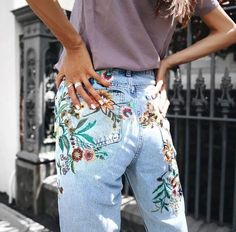 Adorable spring '17 trend Floral embroidered high-rise jeans. -MB