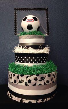 Soccer themed diaper cake
