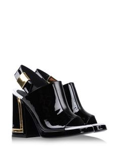 KENZO Calf-skin leather sandals.  Heel height: 4.7""