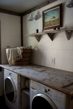 Wonderfully Rustic Laundry Room Workspace