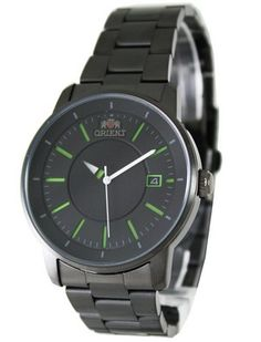 A watch with black dial,Black Stainless Steel Case & White Second Hand And Green Markers.