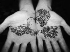 A bird in the hand is worth...the price of a tattoo. This is a really cute idea! #birds #tattoo #blackink