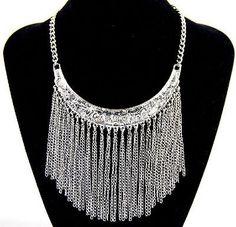 Hot Popular Fashion Retro Crescent Tassel Statement Bib Chunky Choker Necklace