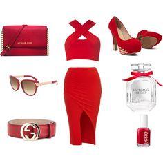 ShopUnder ---> Red Casual by alexisdior on Polyvore featuring Motel, Michael Kors, Gucci, Victoria's Secret, Essie. Get your #Gucci sunglasses at ShopUnder.com #ShopUnder