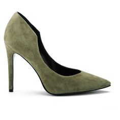 Kendall & Kylie Women's Abi Suede Court Shoes - Olive ($125) ❤ liked on Polyvore featuring shoes, pumps, green, suede shoes, pointed toe stilettos, olive green pumps, high heel shoes and high heel stilettos