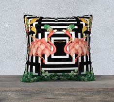 Fancy Flamingos, Pillow Cover, Geometric, Black and White, Gold Leaf, Accent Throw Pillow, Large Sofa Cushion, Upholstery Velveteen,