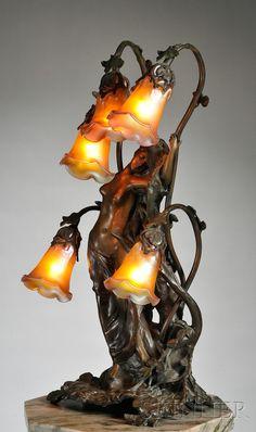 Gustav Gurschner (1873-1971) Art Nouveau Table Lamp,Bronze and Glass, Austria