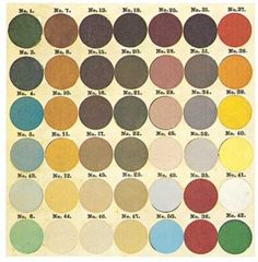 In the Victorian era, it was possible to buy ready-mixed paint colors like the ones on this 1871 paint card.