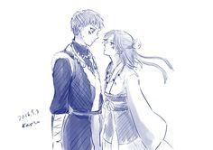 Akatsuki no Yona / Yona of the dawn anime and manga fanart credits to https://mobile.twitter.com/k_ponbon    Seriyuu blue dragon Abi and Shin ah