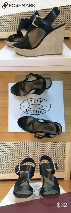 Steve Madden Black Wedges! Super cute wedges with a criss cross design on the front. Very comfortable!! Worn a few times, but still look great! Steve Madden Shoes Wedges