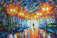 Colorful Street Rain Landscape Romantic Couple With Umbrella