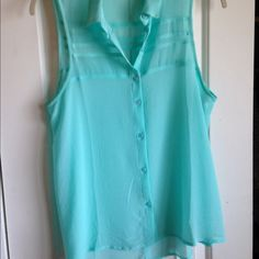 """American Eagle Outfitters Tank-Top in Mint Green Add a pop of color to your wardrobe with this sheer mint green day-to-night top. Wear with your favorite Cami or bralette. This top is used but is in mint condition. (Haha. Get it? """"Mint"""" ) American Eagle Outfitters Tops Tank Tops"""
