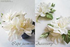 Beautiful Handmade satin gardenia's for summer hair accessories, or weddings...Exquisite!