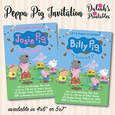 Peppa Pig invitation  - choose to have a pink or blue colour theme - splashing/muddy puddle themed  - choose from two sizes: 4x6 or 5x7 - all text in the sample pictures can be changed if you prefer different wording  Note: this listing is for a DIGITAL FILE that has been personalised with your invitation details. You can then use this to print as many copies as required, however no physical items will be shipped to you.  Other Peppa Pig Items: www.etsy.com/shop/DaliahsPrintabl...