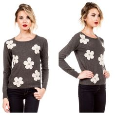 Gray sweater with flowers Chic floral appliqué sweater, light weight , soft cashmere feel material  with stretch . Key hole button in the back . True to size.   DO NOT BUY❌ COMMENT ON YOUR SIZE AND ALLOW ME TO CREATE A LISTING FOR YOU. Flirty Meow Boutique  Sweaters Crew & Scoop Necks