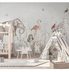 Cartoon Hand Painted Giraffe, Elephant , Owl Wallpaper, Tropical White Leaves and Flamingo Animals Nursery Kid Children Room Wall Murals